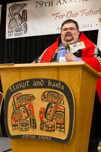 Tlingit-Haida Central Council President Richard Peterson addresses the tribal assembly in March 2014. Peterson just announced the council has OK'd same-sex tribal marriages. (Courtesy THCC)