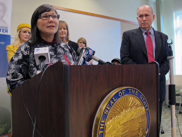 Health Commissioner Valerie Davidson and Alaska Governor Bill Walker announce the state's plan for Medicaid expansion and reform. (Photo by Annie Feidt, APRN - Anchorage)