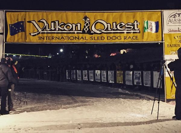 Yukon Quest finish line. (Photo by Emily Schwing, KUAC - Fairbanks)