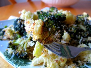 Roasted Cauliflower & Broccoli With Lemony Parmesan Breadcrumbs