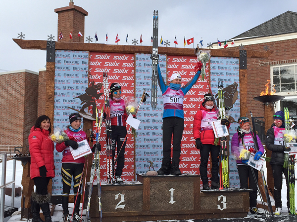 Holly Brooks atop the Birkebeiner podium. (Photo courtesy Holly Brooks)
