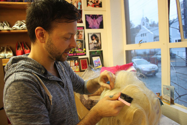 James Hoagland learned the art of wig making while performing as a drag queen for eight years. (Photo by Lisa Phu/KTOO)