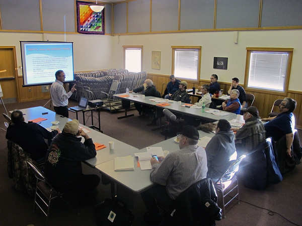 Kuskokwim River Inter Tribal Fisheries Commission steering committee members hear from AVCP attorney Sky Starkey. (Photo by Ben Matheson / KYUK)