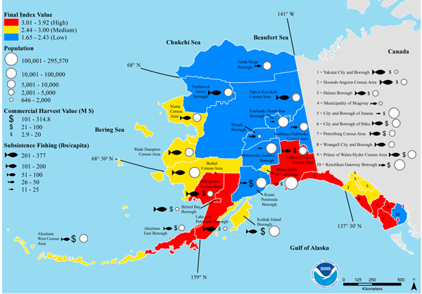 Individual components of the final ocean acidification risk index for each census area showing the communities with the highest risk are in the Southeast and Southwest of the state. (Credit: NOAA)