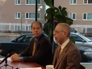 On the left, Bruce Schulte of the CRCL at a press conference with Dr. Tim Hinterberger of the Campaign to Regulate Marijuana Like Alcohol.