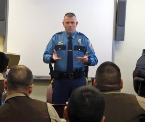 Captain Andrew Merrill, the state's VPSO commander, speaks with YK Delta VPSOs in regular training. Photo by Ben Matheson / KYUK.
