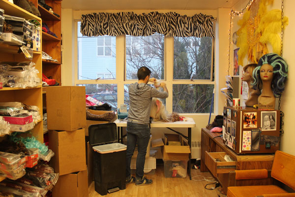 James Hoagland made wigs at home before opening his studio in Downtown Juneau November 2014. (Photo by Lisa Phu/KTOO)