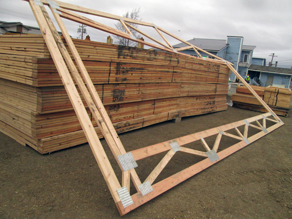 Bethel dorms feature the integrated truss design. (Photo by Ben Matheson/KYUK)