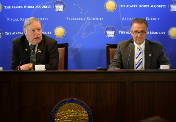 House Speaker Mike Chenault, R-Nikiski (left), and Senate President Kevin Meyer, R-Anchorage, participate in a press conference related to passage of House Bill 132. March 31, 2015. The bill, introduced on March 2nd by Chennault and other House Majority leaders, limits the Alaska Gasline Development Corporation's powers on the Alaska Stand Alone Pipeline. It was strongly criticized at the time by Gov. Bill walker, who was adamant it would weaken the state's position in pipeline negotiations. (Photo by Skip Gray/360 North)