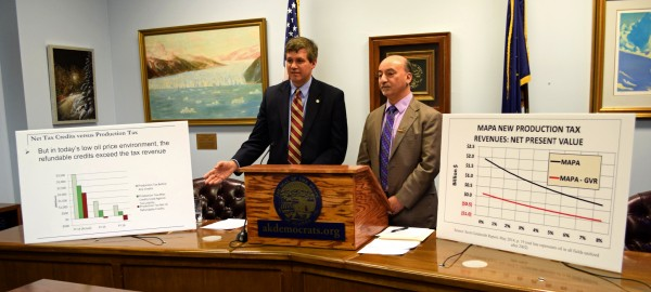 Sen. Bill Wielechowski and Rep. Les Gara present their proposed oil tax fix. (Photo by Skip Gray/360 North)