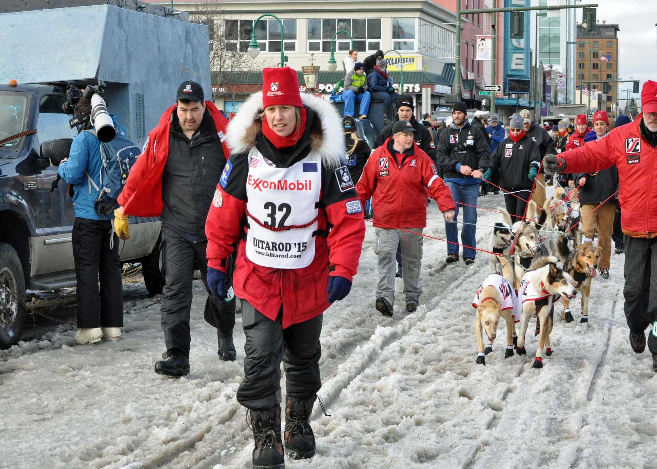 Aliy Zirkle makes her way to the starting line for the ceremonial start of the 2014 Iditarod. (Photo By Patrick Yack - Alaska Public Media)