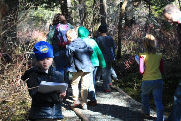Allie Smith's second grade class goes on a nature walk at least once a month. (Photo by Lisa Phu/KTOO)