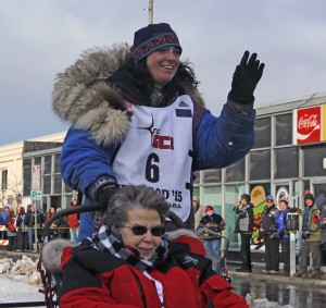 Michelle Phillips during the 2015 Iditarod ceremonial start. (Photo by Josh Edge, APRN - Anchorage)