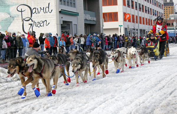 Mitch Seavey at the 2015 Iditarod ceremonial start in Anchorage. (Photo by Josh Edge, APRN - AnchoragE)
