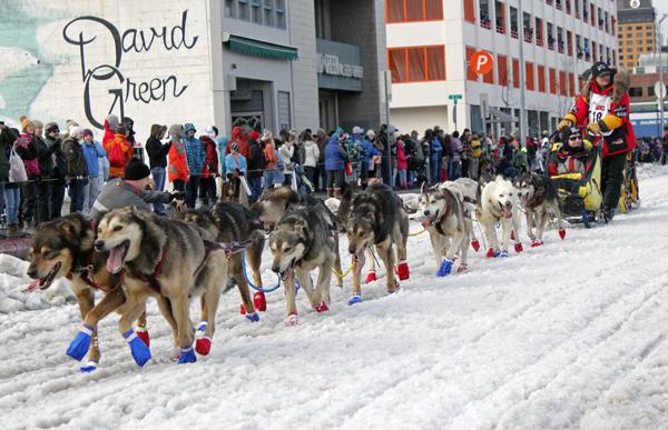 Mitch Seavey at the 2015 Iditarod ceremonial start in Anchorage. (Photo by Josh Edge, APRN - AnchoragE)