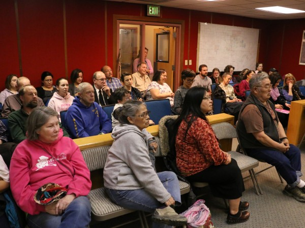 A capacity crowd, largely opposed to local liquor sales, spoke for nearly four hours before the council. (Photo by Dean Swope / KYUK)