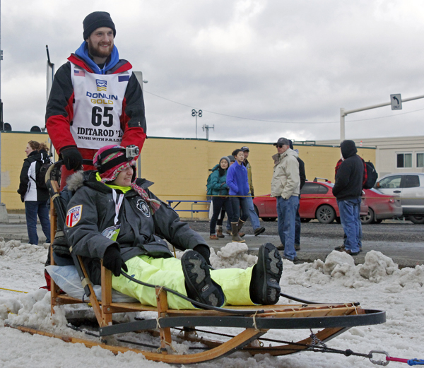 Wade Marrs at the 2015 Iditarod ceremonial start. (Photo by Josh Edge, APRN - Anchorage)