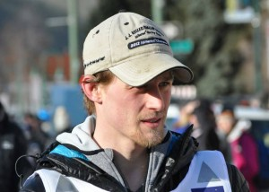 Defending Iditarod champion Dallas Seavey at the 2015 Iditarod ceremonial start. (Photo by Patrick Yack, Alaska Public Media)