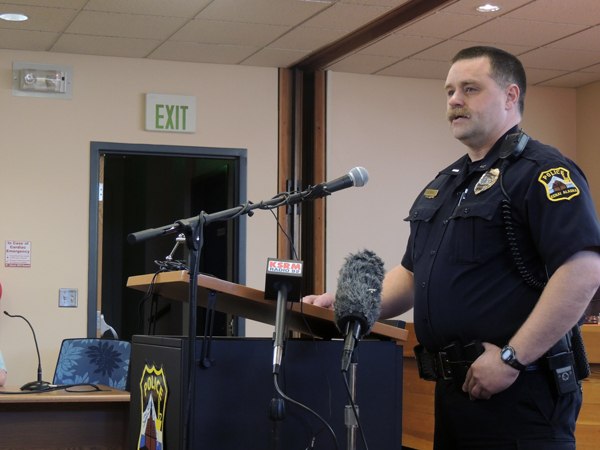 Kenai Police Lt. David Ross addresses the media at Kenai City Hall Monday afternoon. Police believe they have found the remains of Rebecca Adams, 22; Michelle Hundley, 5; Jaracca Hundley, 3; and Brandon Jividen, 37, all missing since May of 2014.