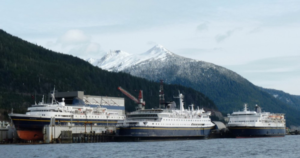 Three ferries tied up at the Ketchikan Shipyard in the winter of 2012. Commercial users will likely pay higher rates beginning next winter. (Ed Schoenfeld/CoastAlaska News)