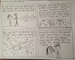 "Bakalar explores many forms on her blog, ""My Relationship with Pilots: A Comic"" is one example. (Image courtesy Libby Bakalar)"