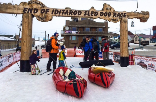 The Higman/McKittrick family start their own journey from the Iditarod finish line on Friday. Photo courtesy of Betsy Brennan.