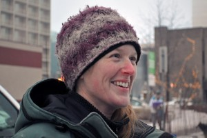 Paige Drobny at the Iditarod's ceremonial start in 2013. (Alaska Public Media photo)