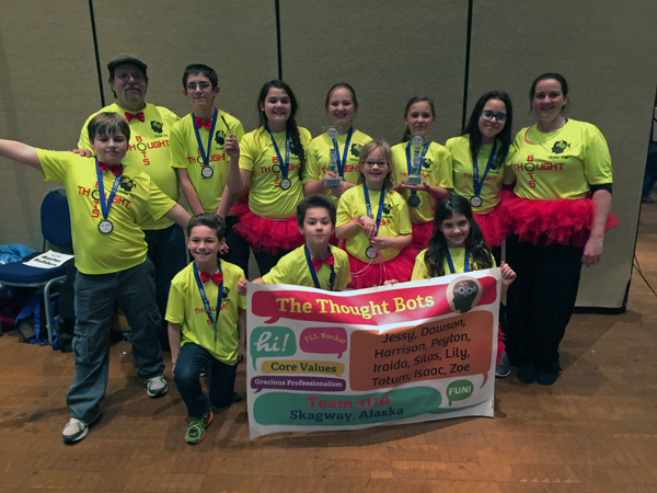 The Thought Bots placed first at the Juneau regional competition. (Courtesy Denise Sager)