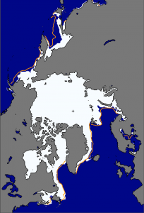 The maximum extent of Arctic ice on Feb. 25 was the lowest on record. The orange line shows the median extent for that day from 1981 to 2010. (Credit: National Snow and Ice Data Center)