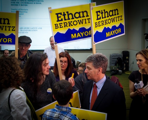 Ethan Berkowitz, standing with his family, won the largest percentage of votes, but not enough to avoid a runoff. (Photo: Zachariah Hughes, KSKA)