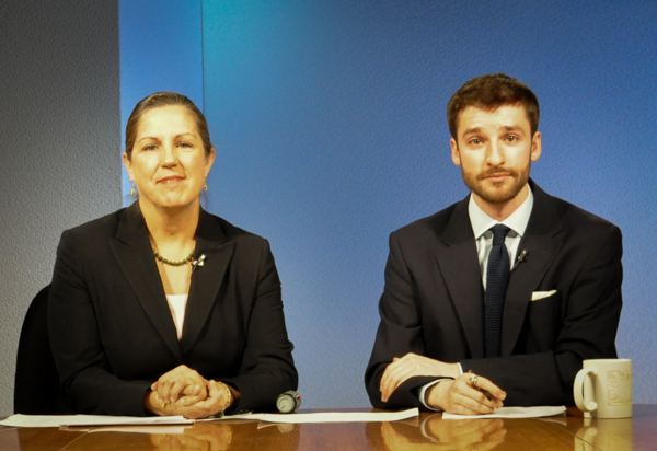 Lori Townsend (left) and Zachariah Hughes (right) host Anchorage mayoral candidates for the 2015 edition of Runoff. (Photo by Patrick Yack)