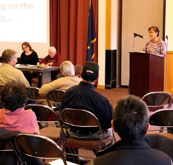 BNC President and CEO Ana Hoffman speaks at a community meeting in Bethel. (Photo by Dean Swope / KYUK)