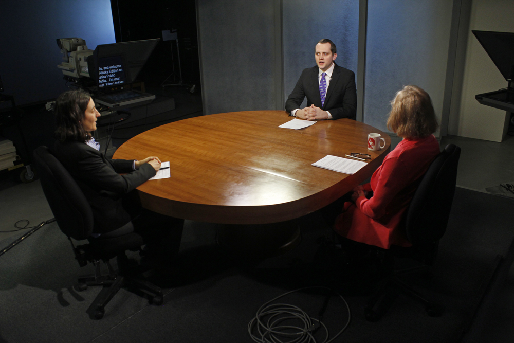 KSKA's Anne Hillman and KTUU's Austin Baird join Ellen Lockyer on Alaska Edition. (Photo by Josh Edge, APRN - Anchorage)