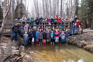 Students from Airport Heights on their trip to the Chester Creek Watershed. (Photo courtesy Tony Flores)