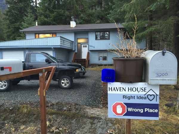 Signs protesting Haven House's location can be seen all over the Malissa Drive area, even in front of Haven House. (Photo by Lisa Phu/KTOO)
