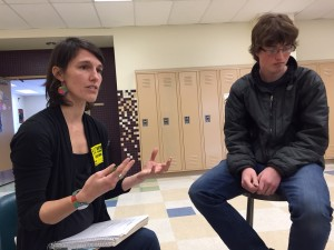 Regan Brooks teaches about storytelling as Service High student Kevin Goodman listens. Hillman/KSKA