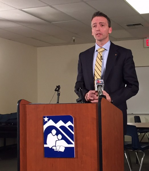 Superintendent Ed Graff discusses budget amendments due to $16.7 million funding cut. Hillman/KSKA