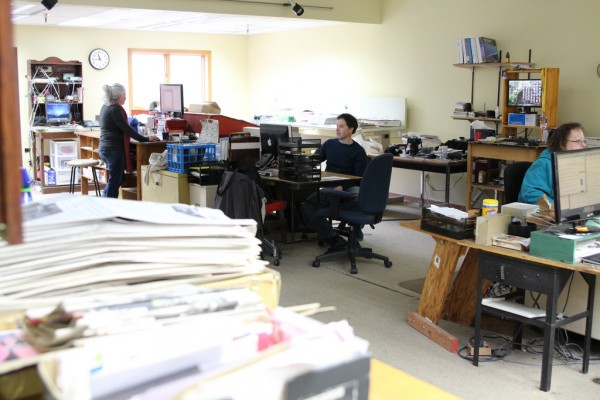 "The Sitka Sentinel is a daily paper that serves a community of 9,000, which owner Thad Poulson considers ""extraordinary."" ""Sitka has the advantage of its isolation. It's a good newspaper town."" (Emily Kwong/KCAW photo)"