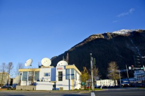 Juneau's KTOO building houses radio, online and TV operations funded in part by the state. Legislative budget cuts will hit public broadcasters throughout the state beginning in July. (Photo by Heather Bryant/KTOO)