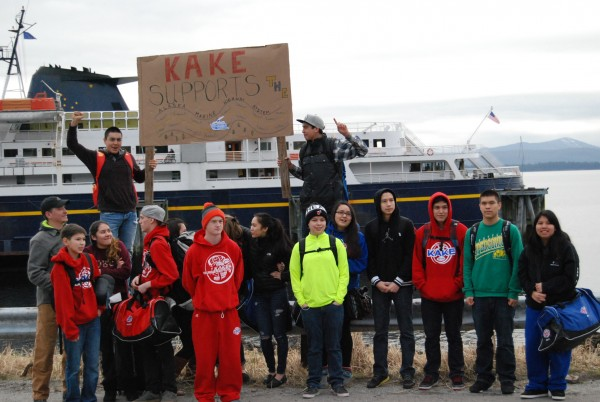 Students protest cuts in the marine highway system budget at the Kake ferry terminal in March. (Photo courtesy Adam Davis/Sustainable Southeast Partnership)