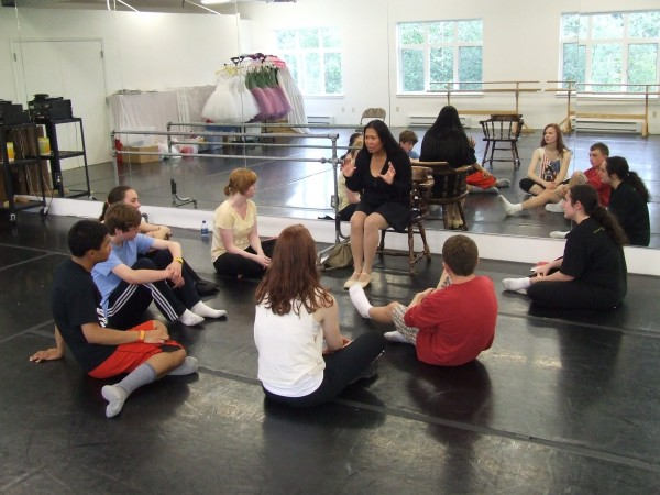 "Ricci Adan works with dancers for Perseverance Theatre's ""Oklahoma."" (Photo courtesy Philip Krauter)"