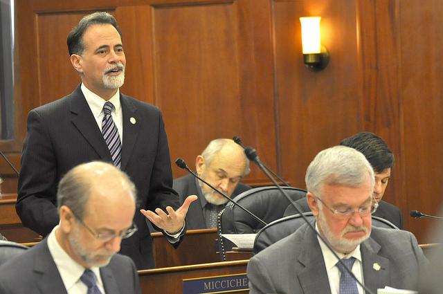 Sen. Peter Micciche speaks on the floor of the Alaska Senate, Feb. 10, 2014. (Photo by Skip Gray/Gavel Alaska)