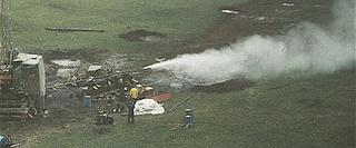 Steam issues from the geothermal test well drilled at Makushin Volcano in the 1980s. (Courtesy: KSLC)