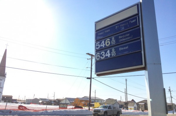 Gas prices in downtown Nome. April 13, 2015.