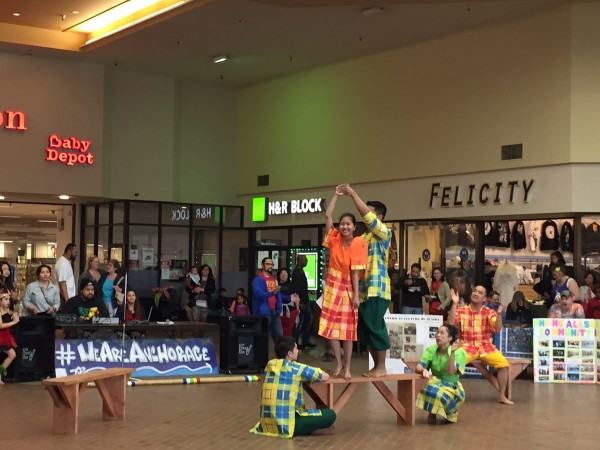 Dancers perform at Northway Mall at community potluck. Hillman/KSKA