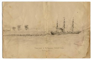 Crewman's drawing of CSS Shenandoah towing 200 prisoners in boats in Bering Sea