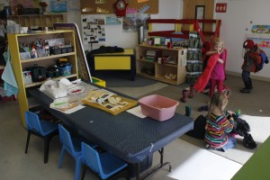 Students at St. Mary's preschool prepare to go outside. (Photo by Josh Edge, APRN - Anchorage)