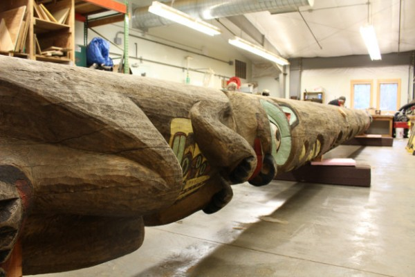 The The Yax té totem is 47 feet long (Elizabeth Jenkins/KTOO)