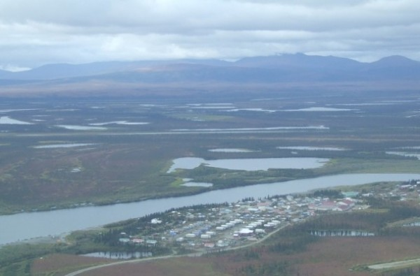 An aerial view of Noorvik in August 2011. Photo: Thester11 via Wikimedia Creative Commons.