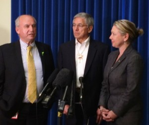 Alaska Lt. Gov. Byron Mallott, center, holds a press conference Monday with B.C. Mines Minister Bill Bennett and Environment Minister Mary Polak. (Photo courtesy British Columbia government)